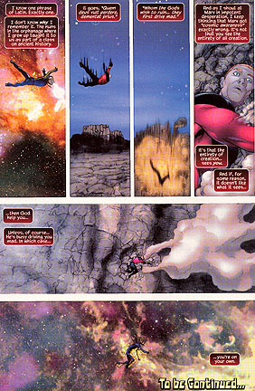 Genis-Vell loses it. Commentary by Rick Jones, written by Peter David